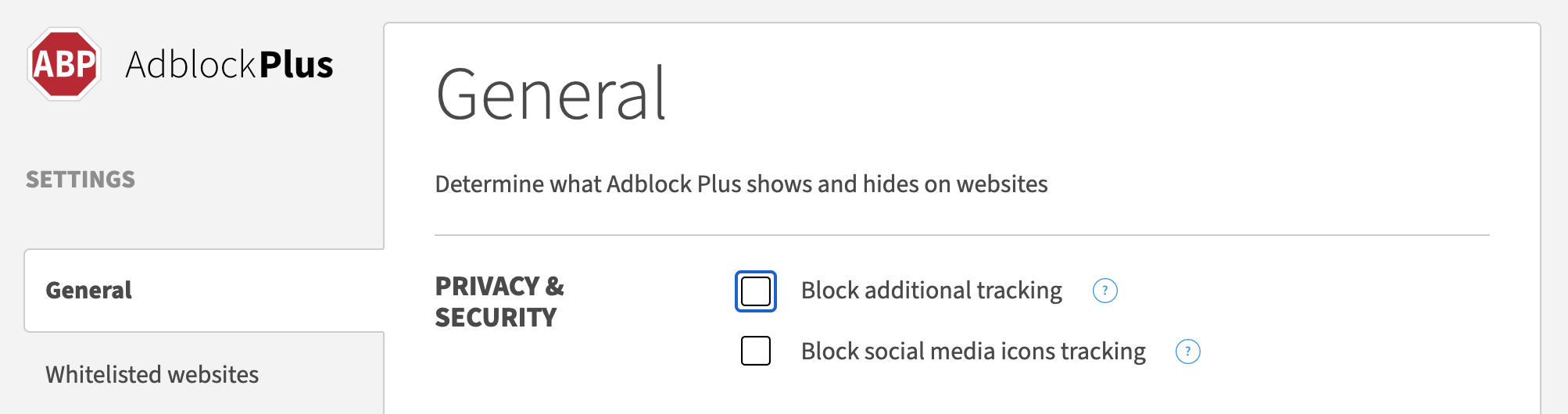 A screenshot of the settings page, for AdblockPlus, showing an unchecked checkbox labelled 'Block additional tracking'
