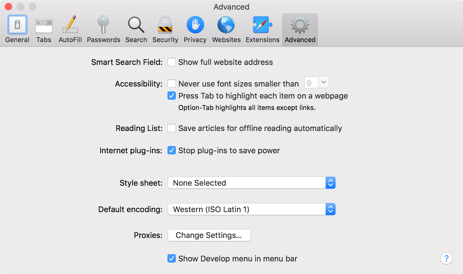 The Advanced preferences pane in Safari.