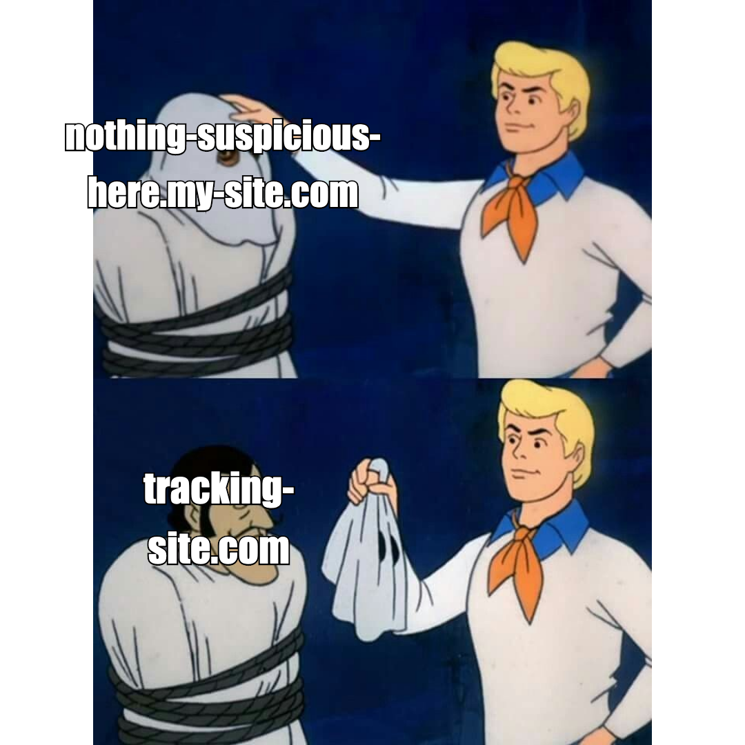 The Scooby Doo 'Let's See Who This Really Is' meme where Fred removes the ghost mask, overlaid with the text 'nothing-suspicious-here.my-site.com', to reveal the text 'tracking-site.com'
