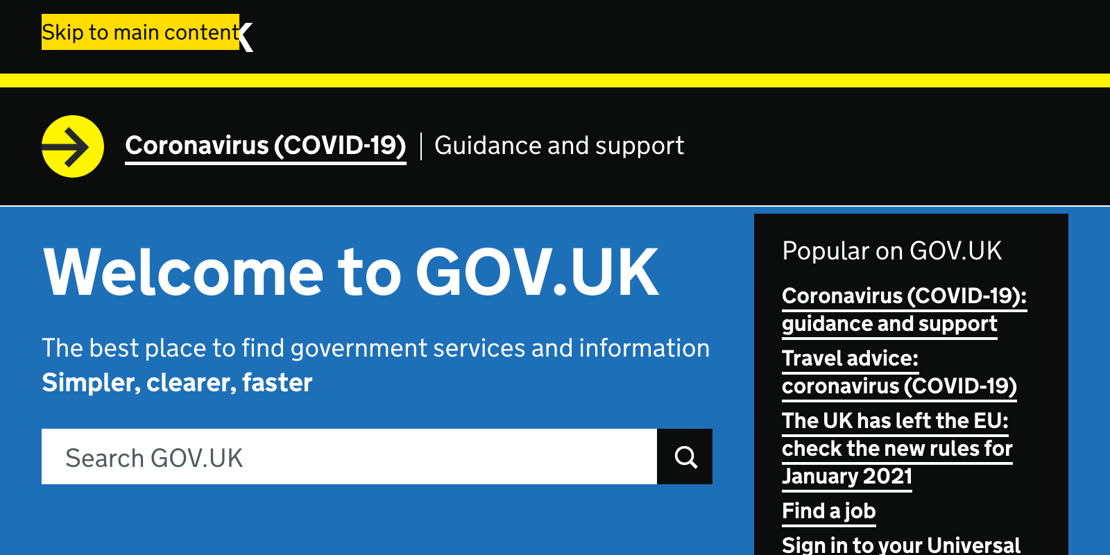 An example of a skip link, with the text 'Skip to main content' in the header of the GOV.UK homepage.